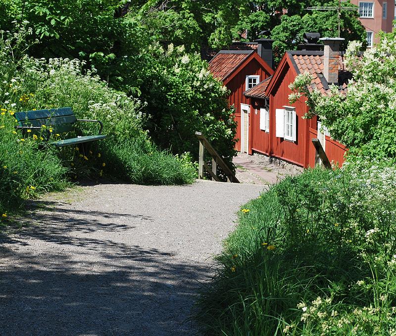 Beautiful garden at Langholmen in Stockholm